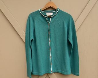 60s vintage Talbott Travler Forest Green Boucle Textured Cardigan Sweater