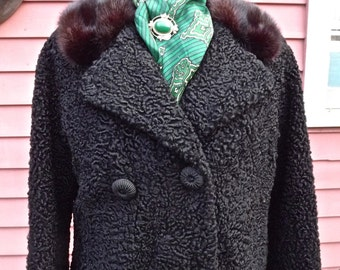 Mid Century Persian Wool Black Long Woman's Coat with Mink Collar Double Breasted
