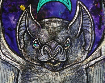 Vampire Bat Miniature Painting by Lynnette Shelley