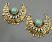 Earring Findings - Tribal Earring Pendant Chandeliar Gold Earring Drop Pendant Charm Turquoise Earringe Pendant Earring Component Findings
