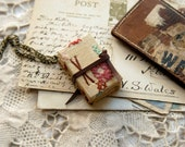 Tiny Tales No.1 - Miniature Wearable Book, Vintage Embroidered LInen, Tea Stained Pages, OOAK
