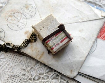Tiny Tales No.8 - Miniature Wearable Book, Vintage Fabric, Tea Stained Pages, OOAK