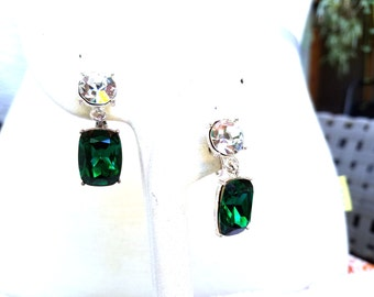 Napier Vintage Drop Earrings Green and Clear Rhinestones