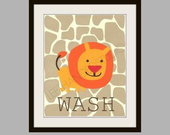 Kohl's Jumping Bean Safari Bath Art Print, FREE SHIPPING Lion Art Print, Children's Art Print, 8x10, Personalized