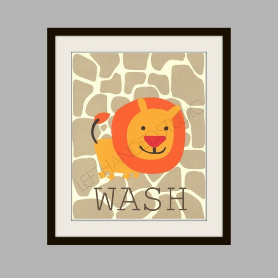 Kohl's Jumping Bean Safari Bath Art Print, FREE SHIPPING Lion Art Print, Children's Art Print, 8x10, Personalized