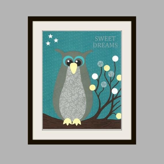 Owl Nursery Art Print, Childrens Wall Art, Kids Room Decor, Baby Shower, Sweet Dreams, Nursery Art, Housewarming Art Print, Personalized