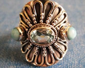 RING  - Triple - Wide -  Blue TOPAZ - LARIMAR - Ornate - 925 - Sterling Silver - size 7 1/2   blue407