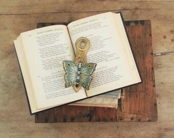 Antique Blue Butterfly Brass Clip, Unique Art Holder