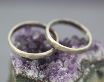 Set of Rustic White Gold Weddings Ring 3mm Hammered Handmade Bands