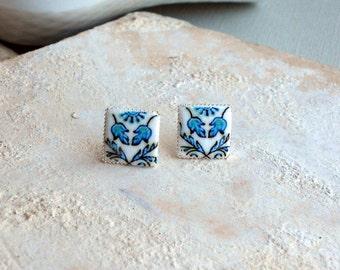 Portugal  Antique Azulejo Tile Replica SILVER Post STUD Earrings,  Ilhavo,  Blue Art Nouveau - 511 Silver Stud in Gift Box