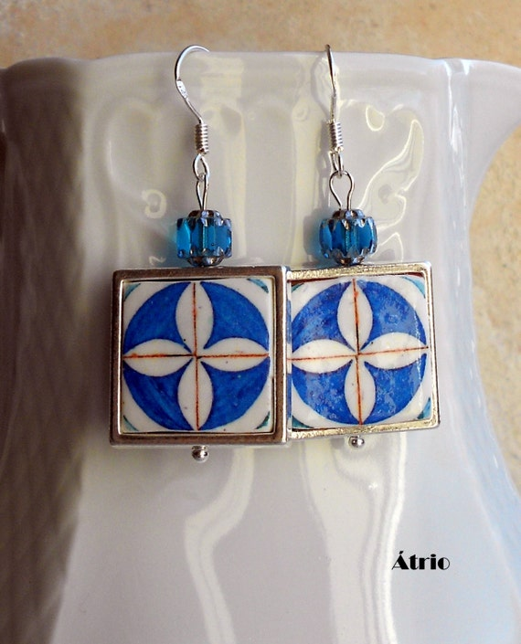 Silver Earrings Portugal Tile Azulejo Portuguese Blue Antique Framed -Rua de Aviz Evora - Historic!  Gift Box Ships from USA 701