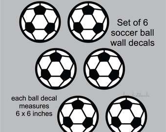 Soccer Ball Wall Decals - set of 6 - vinyl stickers - sports futbol soccer wall decorations - high school sports