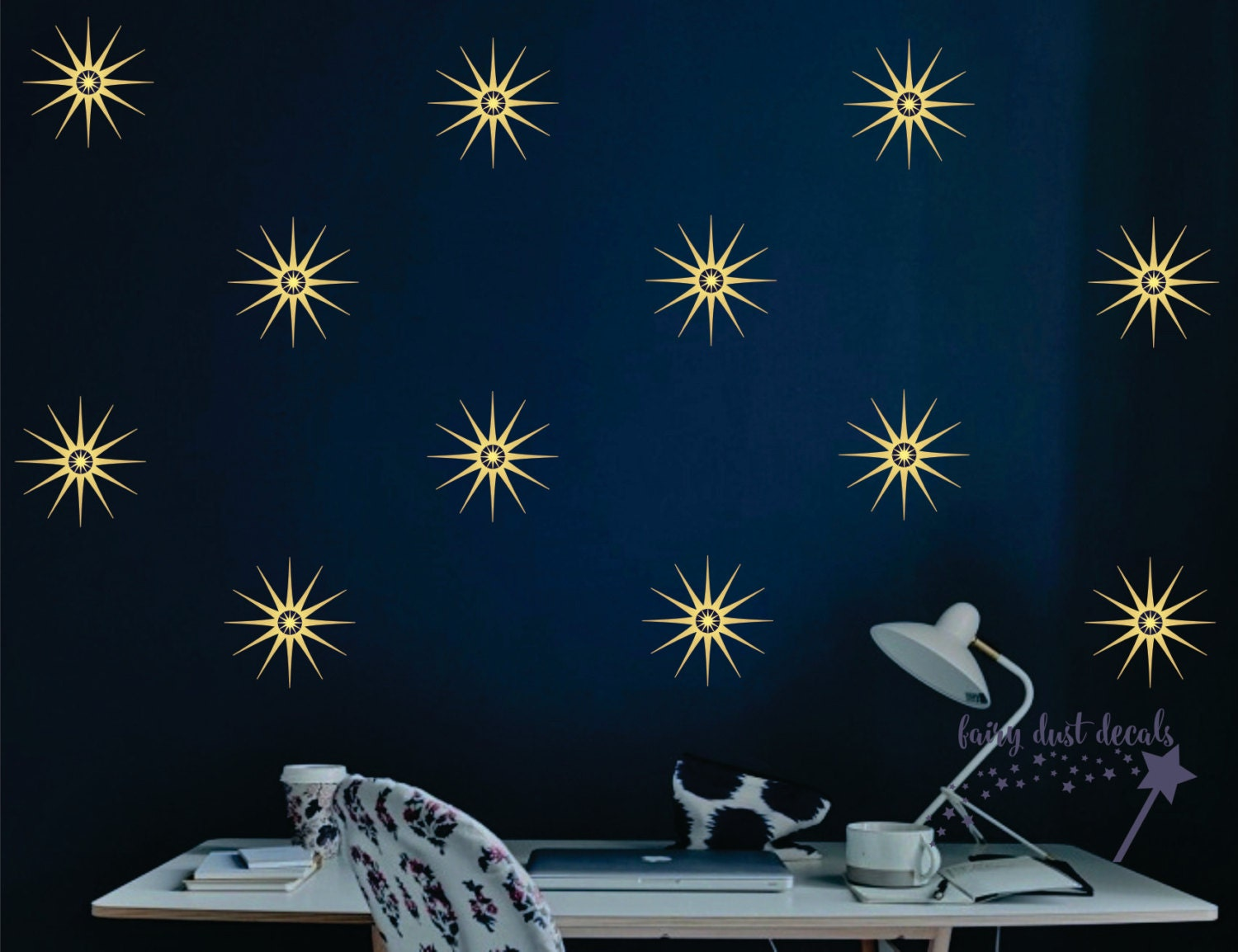 Star wall decal star wall stickers retro starburst design for Star wall decals