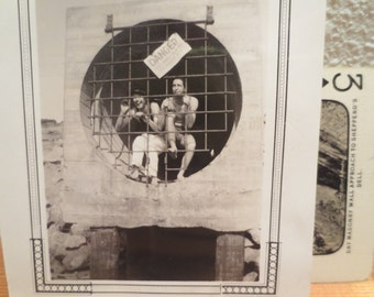 Vintage Photo 1920s Friends Posing in a storm drain DANGER bathing suits having fun americana history listing is for ONE only