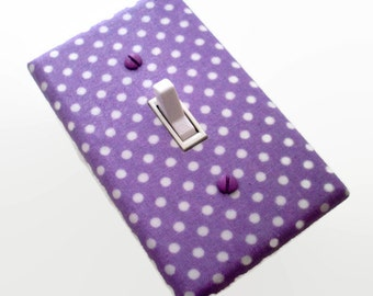 Purple Light Switch Cover - Purple Girls Nursery Switch Plate - Girls Purple Polka Dots - Purple White Dots Switch Plate - Purple Nursery