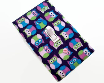 Owl Light Switch Cover - Pink Purple Owls Nursery Decor - Girls Bedroom Switch Plate - Girls Woodland Nursery Decor - Owls Nursery