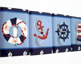 Nautical Light Switch Cover - Anchor Outlet Covers - Nautical Nursery Decor - Ships Wheel Boys Nursery - Toddlers Room - Lighthouse Decor