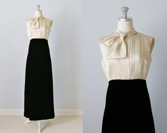 Vintage Kiki Hart for Bergdorf Goodman Black and White Formal Evening Dress  / 1960s Evening Dress/ Black Tie Dress / Full Length