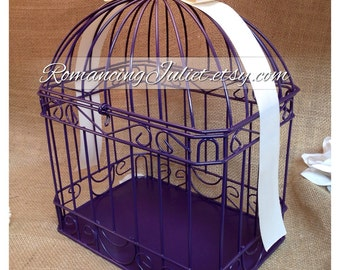 Custom Colors Wedding Card Box Bird Cage...Painted in ANY Color to Match Your Wedding Colors..shown in eggplant deep purple/ivory