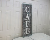 Vintage-Inspired Wood 'Cafe' Vertical Sign - Grayed Wood Frame - Weathered White Crackled Letters