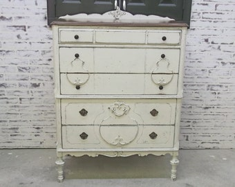 Chest of Drawers, Weathered White Cottage Style - DR803 Shabby Farmhouse Chic, Chest, Nursery Furniture