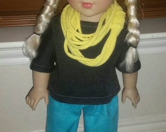 18inch Doll Aqua and Smoke Gray Outfit