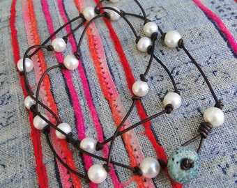 WHITE PEARLS  and LEATHER Necklace, boho, tribal, yoga