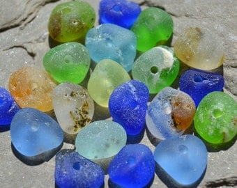 Genuine Sea Glass, Beach Glass - Center Drilled Seaglass Beads - Unique Bonfire Sea Glass, Mixed Colors, Rustic Beachy Beads