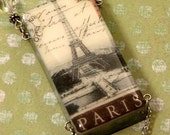 Eiffel Tower PARIS Altered DOMINO NECKLACE Vintage France Image Faceted Crystals Heart Accents Slate Gray Chocolate Brown