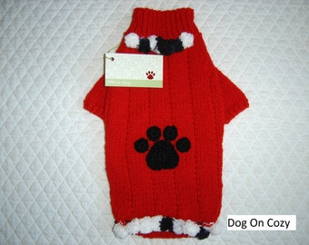 Appliqued Dog Sweater, Hand Knit Pet Sweater, Pet Top, Full Length Sweater, Size XSMALL, Puppy Paws