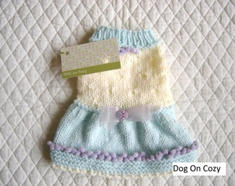 Sweet Dog Sweater, Flared Skirt Pet Sweater, Hand Knit Dog Sweater, Size XSMALL, Party Pup Green