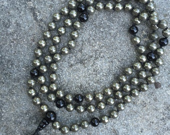 Pyrite 108 Bead Mala Necklace