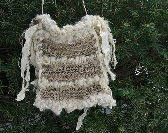 handknit  rustic hemp boho tote shoulder bag - travelling light and free