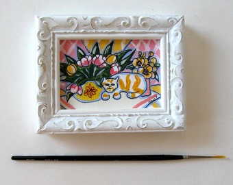 """Original Calico Cat acrylic painting on canvas, 3 1/2"""" x 4 1/2"""", white Shabby Frame, Pink and yellow, tulips, pansies, gift idea"""
