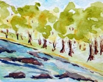 Original Watercolor ACEO Art Card, Trees Along the River