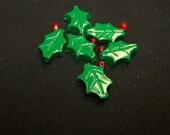 CLOSING SALE Green Christmas Holly Handmade Ploymer Beads
