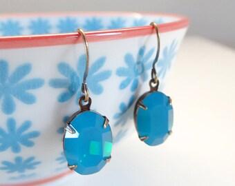 Vintage Swarovski Caribbean Blue Opal Rhinestone Crystal Earrings Bridal Bridesmaids Old Hollywood glamour