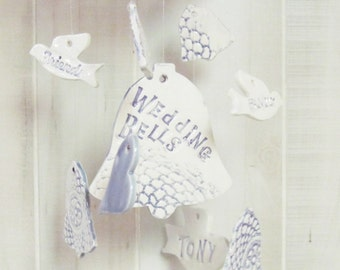 Personalized Wedding  Wind Chime Ceramic Stoneware Clay
