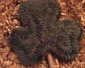Primitive Folk Art Hooked Rug Hooking St. Patrick's Day Shamrock Bowl Filler Ornament