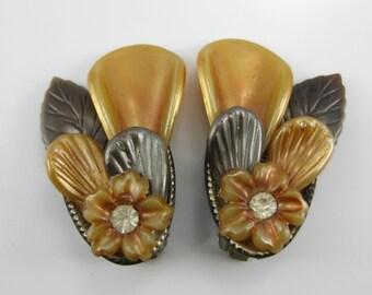 Clip on Earrings, Costume Jewelry, Autumn Colors, Brown & Orange, Womens Flower Earrings