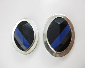 Large Karen Joyce Sterling Silver Black Inlaid Stone Oval Clip On Earrings