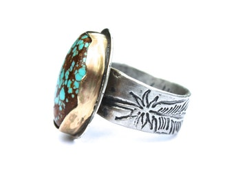 number 8 turquoise ring . bohemian engagement ring . handcrafted boho turquoise ring . silver turquoise jewelry . ready to ship size 7