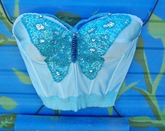 Strapless Top, Summer Top, Festival Top, Corset Top, Butterfly Top, Sequin top, size 34