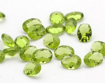 TWO 6mm x 8mm Faceted Oval Simulated Peridot Gemstones Spring Green