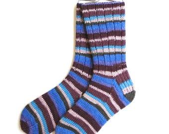 Handknit Socks for Women and Girls, cashmere socks, merino wool socks, blue violet pink socks, striped socks, DK weight, ribbed socks