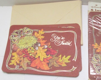 Hallmark Invitations 16 Vintage All Occasion Open House Party Invites Thanksgiving Autumn Fall Leaves Invitations DIY