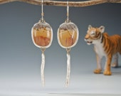 Cherry Creek Jasper, Dangle Earrings, Stick Pearls, Pearl Drops, Sterling Silver,14kt Gold, Fabricated RESERVED for Debbie