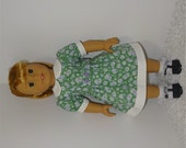 Green Flowered Belted Dress, Fits 18 Inch American Girl Dolls