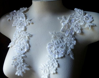 Ivory Beaded Applique Pair in Ivory Creme Lace for Bridal, Headbands, Sashes, Costume Design PR 47