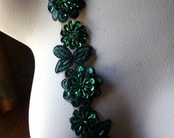 "Hunter Green Beaded Applique Trim 12""  for Lyrical Dance, Costume or Jewelry Design, Crafts TR 249hunter"